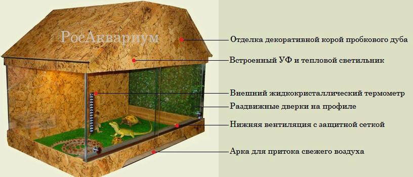 Как должен быть оборудован террариум для рептилии?