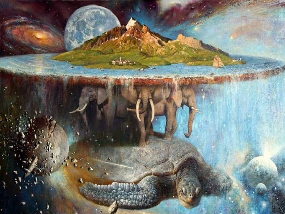 Картинка земля на трех слонах китах и черепахе
